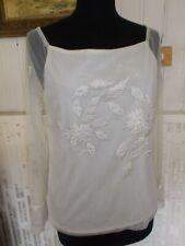 Tee shirt top polyamide blanc cassé brodé feuilles strass VOTRE MODE 42FR 14UK