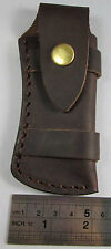 "Folding Pocket Knife Sheath 5 "" Smooth Brown Genuine Leather Belt Case TTSSSCase"
