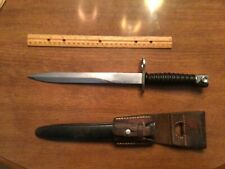 SWISS M 1957 BAYONET WITH SCABBARD AND LEATHER FROG dated 1965