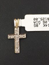 New 14k Two Tone Gold Diamond Cross With Tag