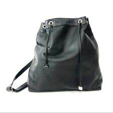Alberta Di Canio Made in Italy Pebbled Black Leather Backpack Large Tote