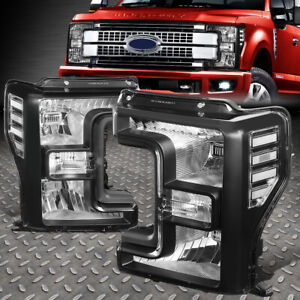FOR 17-20 FORD F250 F350 SUPER DUTY BLACK HOUSING CLEAR CORNER HEADLIGHT LAMPS