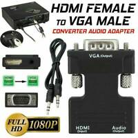 1080P HDMI Female to VGA Male with Audio Output Cable Converter Adapter Lead AU