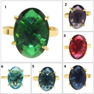 Oval Multi-Color Hydro Quartz Yellow Gold Plated Adjustable Prong Setting Ring