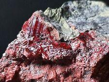 ☆Rarität: 102g blutrote Zinnober  Cinnabarit💎Top Mineral⚒Las Cuevas Mine Spain