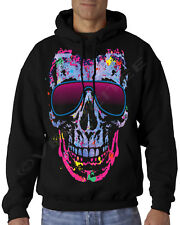 Velocitee Mens Hoodie Colourful Streetwise Shady Skull A15033