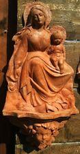 imponente acquasantiera terracotta Madonna con bambino da appendere 55x25 cm