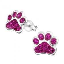 Sterling Silver 925 Dog / Cat Paw Crystal Stud Earrings - Bright Pink