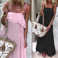 Plus Size Women Summer Beach Dress Maxi Sleeveless Frill Holiday Long Vest Dress
