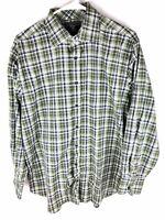 MAKER & CO. Mens Size Large L Green Plaid Long Sleeve Button Front Shirt Cotton