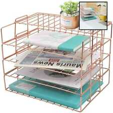 Easepres Rose Gold Letter Tray 4 Tier Desk File Organizer For Women Stackable Pa