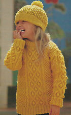 """Aran Sweater & Hat with bobbles cables Knitting Pattern Girls Boys 24-30"""" 585"""