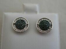 Designer Sterling Silver Small Black Diamond Cluster Earrings