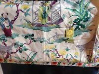"Vintage Chinese Oriental Silk Screen Hand Printed Vat Color Fabric Art 67"" x 49"""