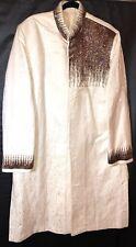 RUNAKO Sherwani Men's Wedding Dress Up Jacket Embroidered White w/accents 48L