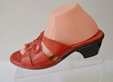 Clarks Artisan Womens 9M Red Leather Slide Sandals Floral