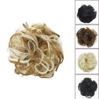 As Human Real Messy Rose Bun Curly Easy-To-Wear Stylish Piece Top Hair Scru K1N6