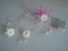 Parure enfant  rose/beige clair Collier bracelet pic cheveux cérémonie/mariage