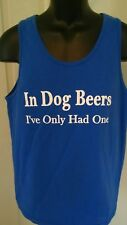 Men'S Size M T-Shirt Funny Beer Drinker Blue Tank Top Muscle Shirt Casual