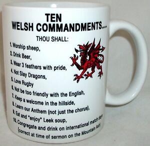 Wales Welsh Ten Commandments Novelty Ceramic Coffee Tea Mug Dragon Gift