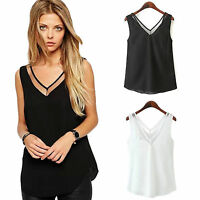 Plus Size Womens Summer Tank Tops Chiffon Cami Vest Camisole Sleeveless V Neck