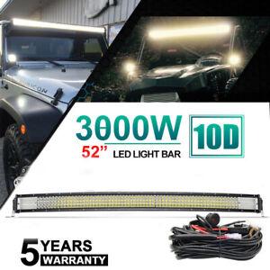 52inch Quad row Curved LED Light Bar Spot Flood Driving Offroad Truck 4X4 ATV 50