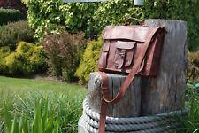 Vintage Men's Women's Leather Briefcase Messenger Shoulder Bag Laptop Business