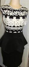 ADRIENNE BLACK/WHITE CAP SLEEVE PEPLUM DRESS SIZE S, M