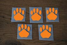 5 Stück Pfoten Orange Samt Flock Applikation aufbügeln Flicken Aufnäher Patch