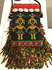 "Embroidered Crossbody Bag Tribal Aborigines Beaded Fringe Small 3.5"" by 5.5"""