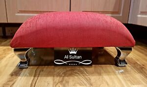 Red Crushed Velvet Pouffe Footstool With Chrome Queen Anne Design Feet