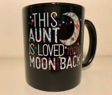 New listing 'This Aunt is Loved To The Moon and Back' Coffee Mug 12 oz. New! Black & Stars