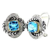 Andrea Candela 18k Sterling Diamond Blue Topaz Love Knot Earring ACE279/06-BT