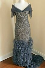 Randi Rahm Couture One Of A Kind Custom Made Pewter Sequin Gown $30,000 Sz 12-14