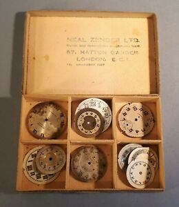 Lot of 12 Mixed Donor Watch Dials in Hatton Garden Box. Watchmaker Spares Repair