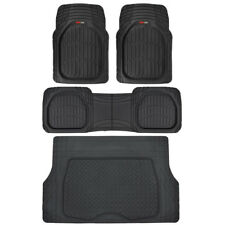 MotorTrend Deep Dish Rubber Floor Mats & Cargo Set - Black - Heavy Duty 4 Piece