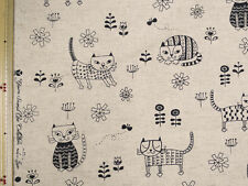 YUWA CUTE CATS Cotton,Linen, Canvas Print Natural 110 x 50 cm - Japanese Fabric