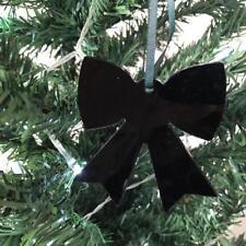 Black Bow Shape Christmas Tree Decorations & Satin Green Ribbon, Pack 10