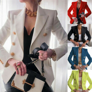 Women's Double Breasted Buttons Front Military Style Blazer Ladies Formal Jacket