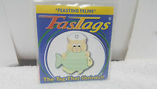 """FASTAGS """"FEASTING FELINE"""" ID Charm Tags that SHRINKS for Pet - Dog - Cat - Kids"""