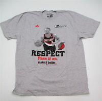 NIKE #M219 Men's Size L Portland Trail Blazers Respect Damian Lillard Gray Shirt