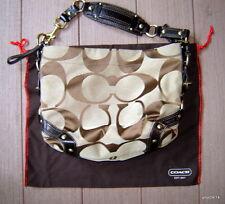 heavy duty brown signature COACH PURSE/handbag leather/brass trim #10819