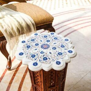 Marble White Handmade Coffee Custom table Top Lapis Inlaid Marquetry unique Arts