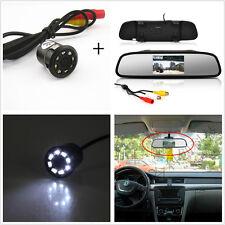 Car Rear View Mirror Display Monitor+8LED Night Vision Reverse Parking HD Camera