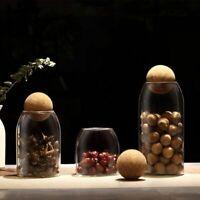 Glass Storage Jar Dry Food Tea Coffee Canister Jars Cork Top Kitchen Organiser
