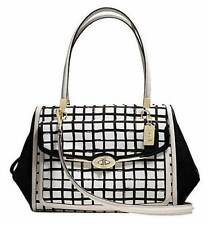 NEW Coach White Black Madison Graphic Print Madeline Satchel Purse Handbag 28082