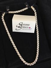 Suzanne Somers 925 Gold Vermeil Clear Absolute CZ trilliant tennis necklace 17""