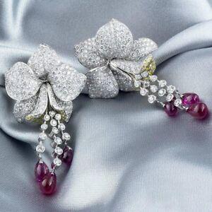 Real 925 Sterling Silver 8.00ct Fancy Yellow & Shiny CZ Flower Wedding Earrings