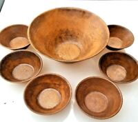 Vintage Thermo Serv by West Bend Lge Faux Wood Serving Bowl & 6 Salad Bowls