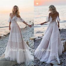 2019 Bohemian Wedding Dresses Off Shoulder Lace Bridal Gowns Backless Beach Boho